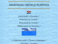 Frontpage screenshot for site: Apartmani Pleština (http://free-st.htnet.hr/apartmani-Plestina/)