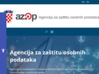 Slika naslovnice sjedišta: Agencija za zaštitu osobnih podataka (http://www.azop.hr/)