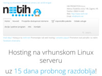Slika naslovnice sjedišta: Hosting na vrhunskom Linux serveru uz 15 dana probnog razdoblja! (http://www.netih.net)