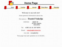 Frontpage screenshot for site: Daniel Vukelja (http://free-ka.htnet.hr/DanielVukelja/)
