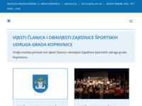 Slika naslovnice sjedišta: Zajednica športskih udruga Grada Koprivnice (http://www.zsu-kc.hr)