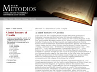 Frontpage screenshot for site: Metodios (http://www.metodios.hr/brief.history.croatia)
