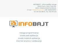 Slika naslovnice sjedišta: Infobajt - Programska i web riješenja (http://www.infobajt.com)