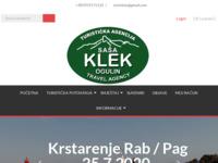 Frontpage screenshot for site: Putnička agencija Klek (http://www.putnickaagencijaklek.hr)