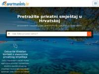 Frontpage screenshot for site: Povoljni apartmani na moru i privatni smještaj u Hrvatskoj (http://www.apartmaninfo.hr/)