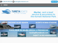 Frontpage screenshot for site: Turetatours Rent a boat Murter, Izleti na Kornate (http://www.turetaboats.com)