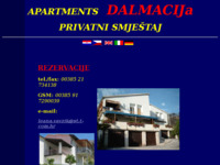 Frontpage screenshot for site: Apartments Dalmacija (http://free-st.htnet.hr/dalmacija-apartments/)