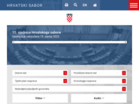 Frontpage screenshot for site: Sabor Republike Hrvatske (http://www.sabor.hr)