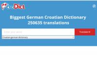 Frontpage screenshot for site: Njemačko hrvatski - Hrvatsko njemački rječnik (http://www.crodict.com)