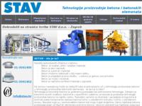 Slika naslovnice sjedišta: Stav d.o.o. -  tehnologije za proizvodnju betona i betonskih elemenata (http://www.stav.hr/)