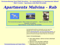 Frontpage screenshot for site: Apartmani Malvina na otoku Rabu (http://www.malvina.hr/)