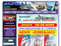 Frontpage screenshot for site: Hobby shop Alpha (http://www.alpha.hanich.hr/)