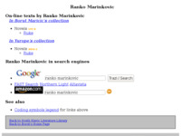 Frontpage screenshot for site: Ranko Marinković (http://www.borut.com/library/a_marinr.htm)